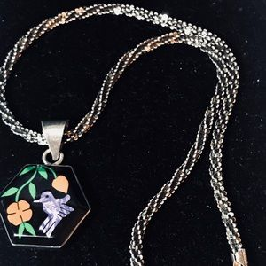 Sterling Mexican Handmade Inlaid Necklace
